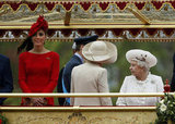 The queen looked at Kate on the royal barge at the Thames Diamond Jubilee Pageant.