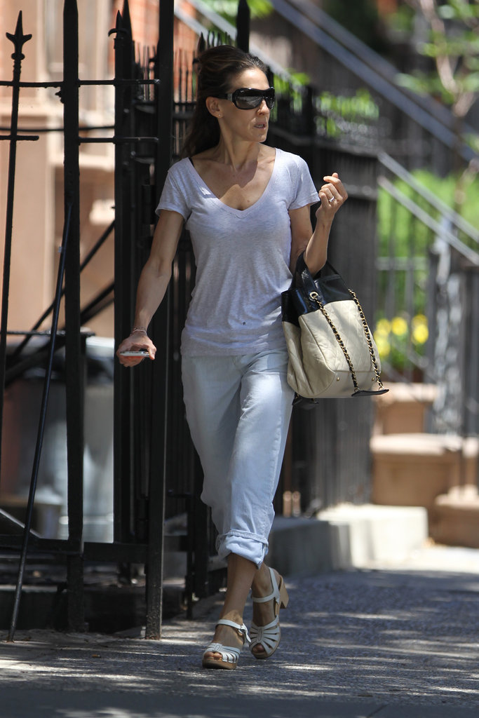 Sarah Jessica Parker walked through NYC in strappy sandals.