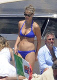 She sported a purple two-piece while vacationing on a boat in Italy in July 2011.