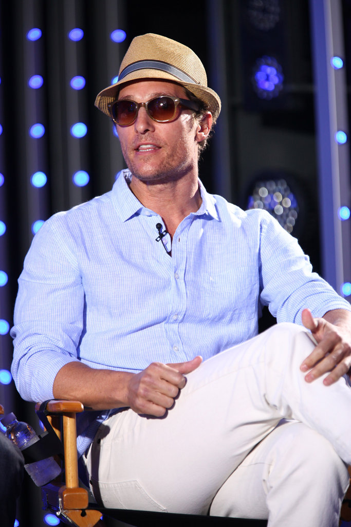 Matthew McConaughey looked casual and cool in shades and a fedora.