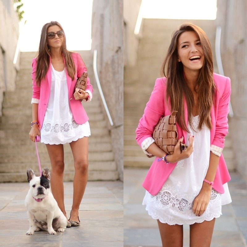 What's cuter: the pretty pink blazer or the bulldog? Photo courtesy of Lookbook.nu