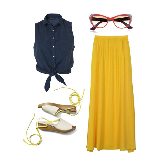 You can definitely get away with wearing a skirt on a picnic date — just make sure it's a maxi. Not only do you have a built-in blanket if things start to cool down, but it also allows you to stretch out or sit cross-legged without flashing your date. We love how a bright maxi skirt looks when worn higher on the waist and paired with a tied-up denim top. Add a pair of comfy lace-up wedges and colorful sunglasses for a cute retro picnic look. Get the look:  Topshop Denim Tie-Front Top ($50) Selima Optique Grace Cat-Eye Sunglasses ($385) 10 Crosby by Derek Lam Mango Maxi Skirt ($445) Rachel Comey Affair Wedge ($425)