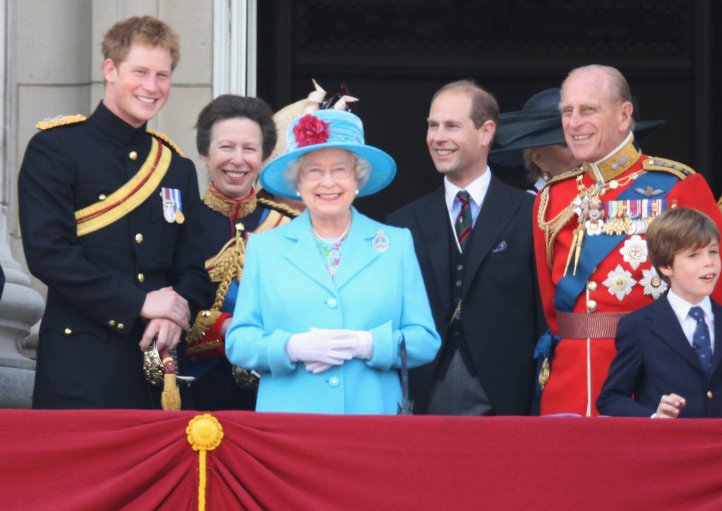 Members of the royal family enjoyed a laugh before watching a fly-past over Buckingham Palace after the Trooping the Colour ceremony in June 2009.