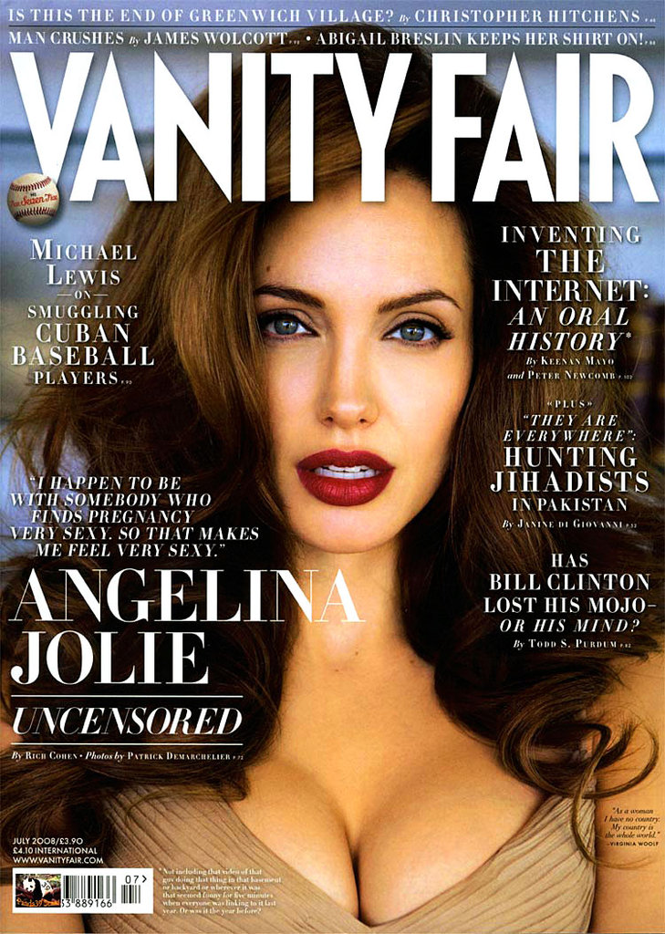 Pregnant Angelina Jolie posed for the July 2008 cover of Vanity Fair.