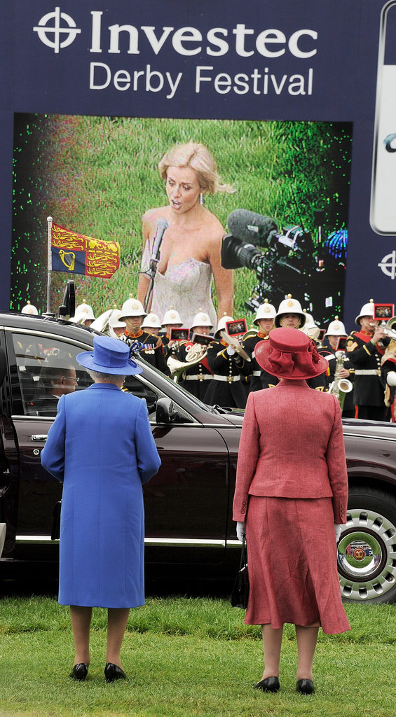 The queen watched the national anthem be performed during the Diamond Jubilee Derby.