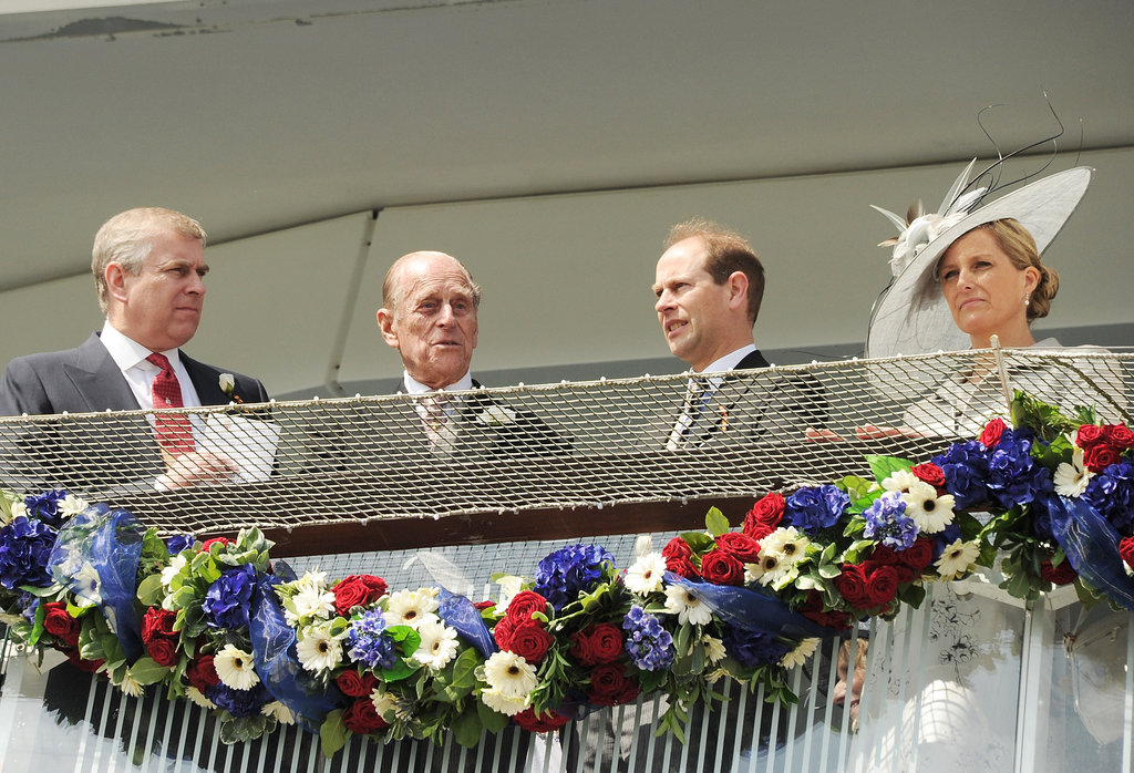 Prince Andrew, Duke of York; Prince Philip, Duke of Edinburgh; Prince Edward, Earl of Wessex; and Sophie, Countess of Wessex, watched the races.