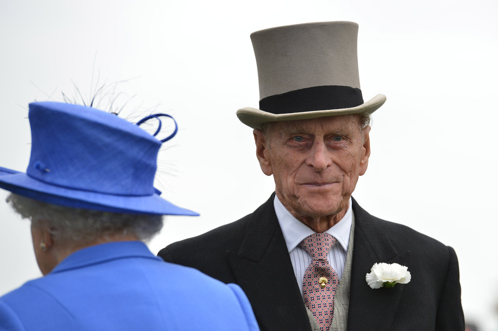 Prince Philip, Duke of Edinburgh, stood with the queen at the Diamond Jubilee Derby.