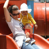 Kristin Davis rode a slide with daughter, Gemma Davis.