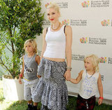Gwen Stefani held Kingston and Zuma's hands at the annual A Time For Heroes Celebrity Picnic in LA.