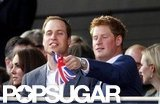 Kate Middleton and Prince William looked on while Prince Harry pointed with his flag at the Diamond Jubilee concert.