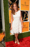 Minka Kelly stepped out in a lace-covered Z Spoke by Zac Posen number and Christian Louboutin sandals.