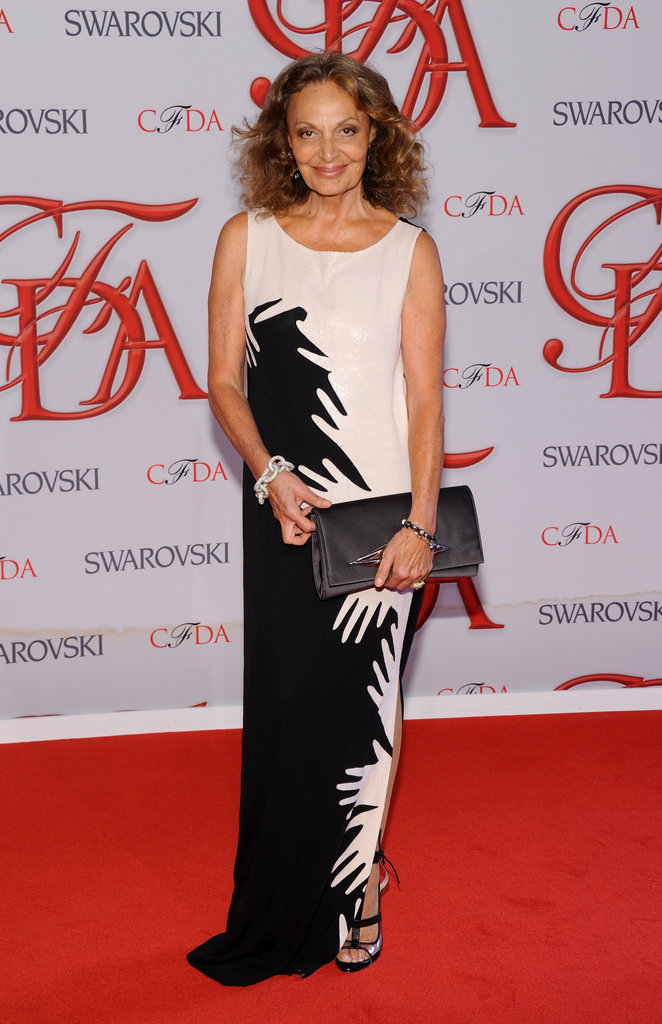 CFDA President Diane von Furstenberg arrived in graphic black and white.