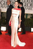 For the Golden Globes in 2012, Angelina wore this two-toned satin gown by Atelier Versace.