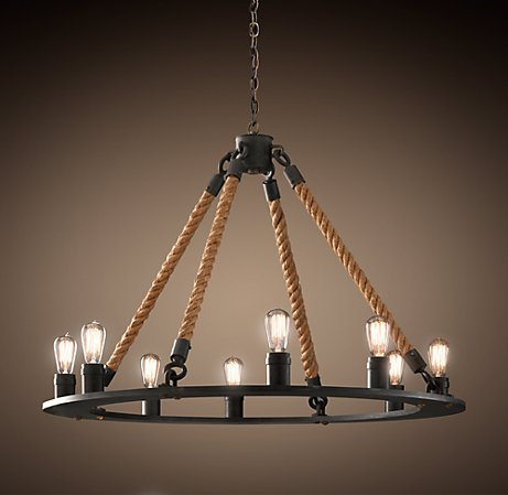 This Rope Filament Round Chandelier ($975) is made from strong, nautical and industrial materials but still captures a sense of romance.  Source
