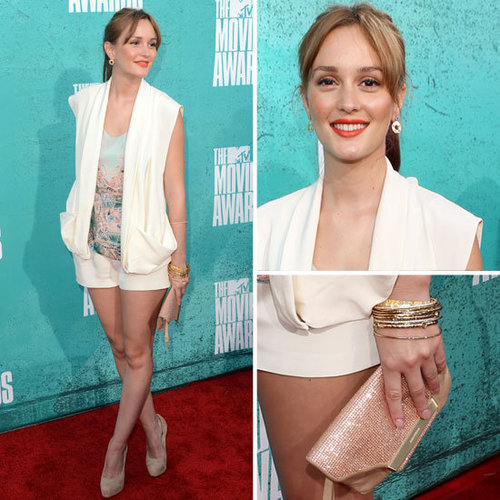 Pictures of Leighton Meester in Christian Cota Short Suit on the red carpet at the 2012 MTV Movie Awards: Rate it?