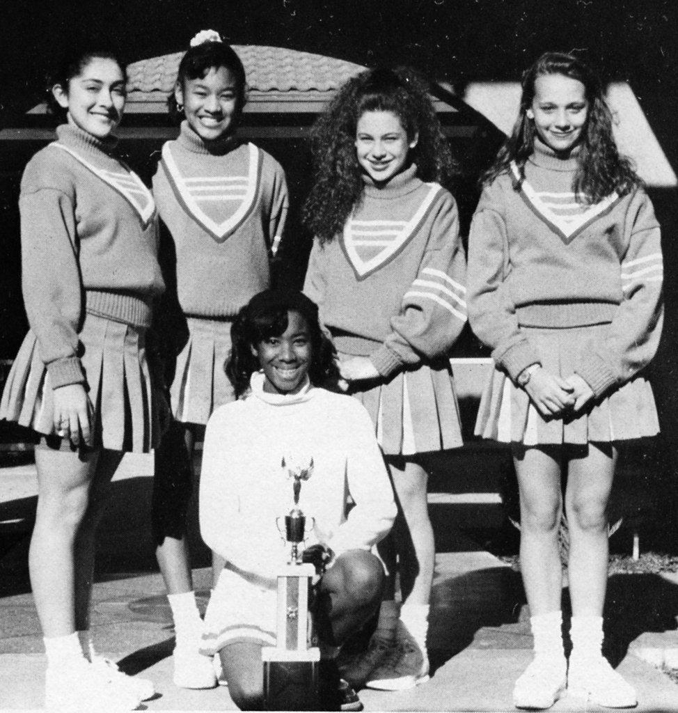 Rashida Jones, on the right, donned a uniform with classmates.