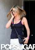 Jennifer Aniston left an LA gym solo.