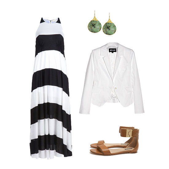 Keep it easy and elegant in a maxi dress. Just top it off with a blazer for a touch of sophistication, then add great jewels for a little glam. Flat sandals (read: not flip flops, please!) lend a perfect finish for a look that's polished enough for pictures and a celebratory meal with the fam. Get the look: A.L.C. Racerback Maxi Dress ($436) Rachel Zoe Golden Clasp Ankle Flat Sandal ($235) Just Cavalli Tailored Stretch-Cotton Blazer ($310, originally $620) Devon Leigh Nature's Wonders African Turquoise in 24k Gold Foil Earrings ($315)