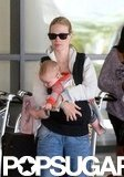 January Jones and Xander arrived at LAX.