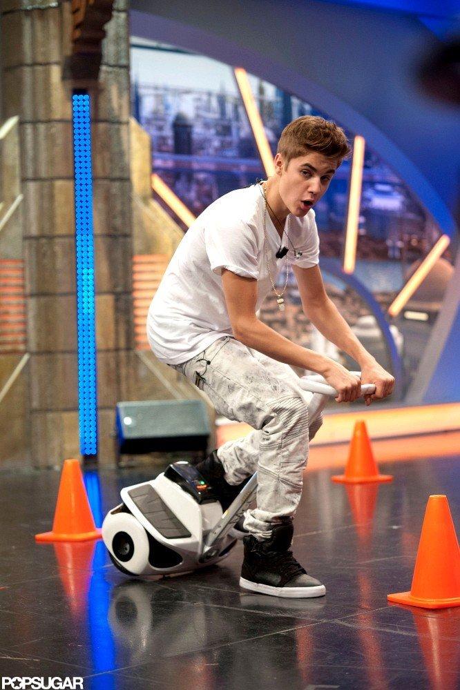 Justin Bieber tried to keep his balance.