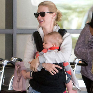 January Jones Pictures With Baby Xander at LAX