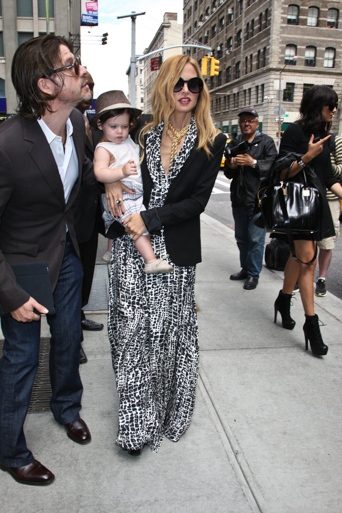 Rachel Zoe and Rodger Berman left the Trump SoHo with Skyler in NYC.
