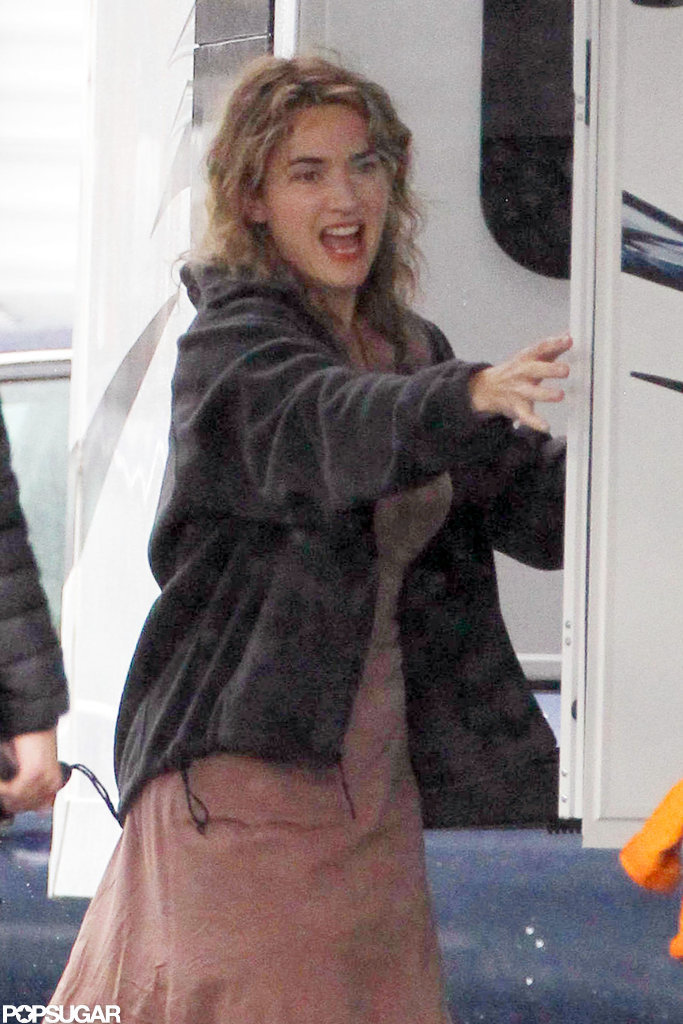 Kate Winslet headed into her trailer in Boston.