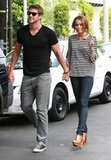 Miley Cyrus and Liam Hemsworth held hands during a June 2010 outing in LA.