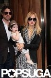 Rachel Zoe held baby Skyler as she and Rodger Berman left the Trump SoHo.