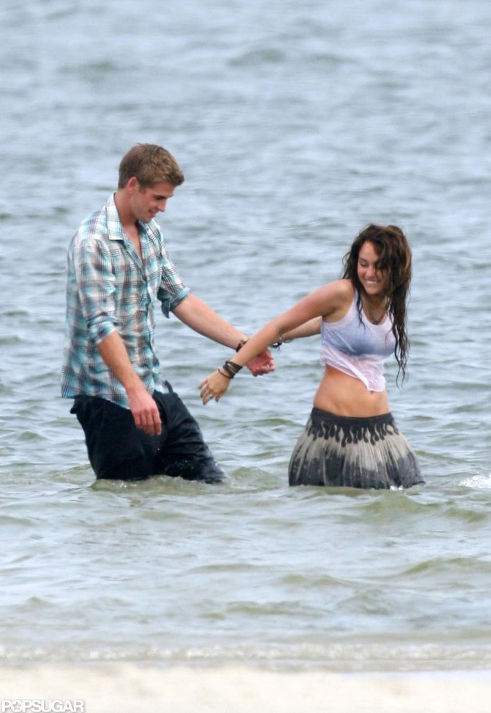 Liam Hemsworth shared a scene with Miley Cyrus in The Last Song during filming in Georgia in June 2009.
