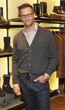 Tom Brady wore his glasses and a cardigan to the opening of Ugg For Men in NYC.