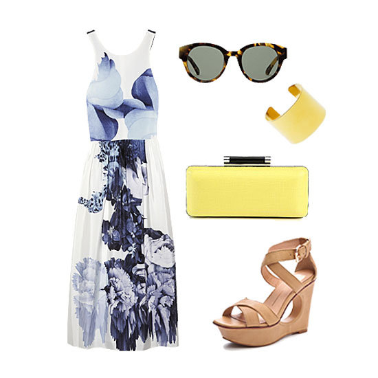 It's your big day, so if you feel like dressing up, go for it in a pretty Summer frock, done up in a gorgeous floral print. Finish it off with wedges you can actually walk in and a pop of color on your clutch. Add in a dose of shine via a gold cuff and complete your look with quintessential shades.