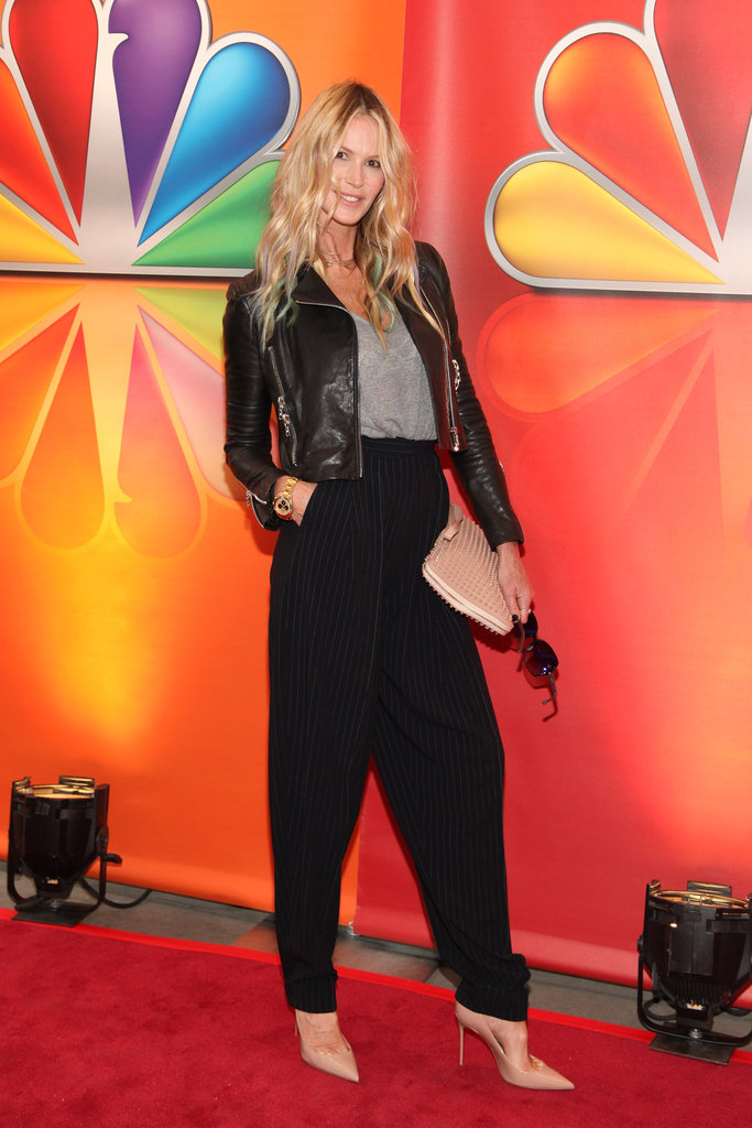 Elle Macpherson showed off these awesome Jean Paul Gaultier pinstriped trousers with classic layers. Who would have thought a sophisticated trouser could look so good in such a relaxed silhouette?