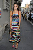During another appearance in Italy in June 2012, Margherita sported a maxi version of this knit Missoni dress ($746). Her zigzag peep-toe booties matched perfectly. For a less expensive alternative, try this Vince Camuto zigzag halter dress ($128).