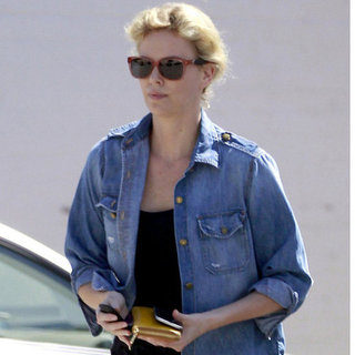 Charlize Theron in Denim at a Salon in LA Pictures