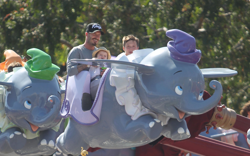 David Beckham, Harper Beckham, and Brooklyn Beckham, enjoyed a ride together at Disneyland.