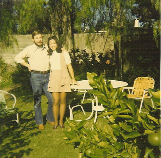 """Here's a shot of my parents, circa 1971, soon after returning from a year of tooling around Europe and the Middle East in a Volkswagen camper. My dad certainly has the international drifter look nailed, down to the backpacker beard. I love the casual ease of his wide-collared shirt and flared jeans . . . and Mom's not too shabby herself, rockin' the matching vest and mini!"" — Sara Yoo, contributing editor"