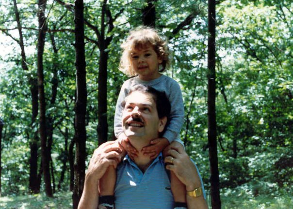 """This is one of my favorite pictures of all time, featuring me and my dad showing off our camping style: a Mickey Mouse sweatshirt for me, and a Lacoste polo for him — back when they were simply referred to as 'alligator shirts.' Of course, no '80s look would be complete without a mustache."" — Becky Kirsch, BuzzSugar editor"