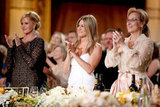 Jennifer Aniston stood at an AFI gala with Meryl Streep and Melanie Griffith in LA.
