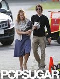 Kate Winslet had a laugh with boyfriend Ned Rocknroll on the set of Labor Day.