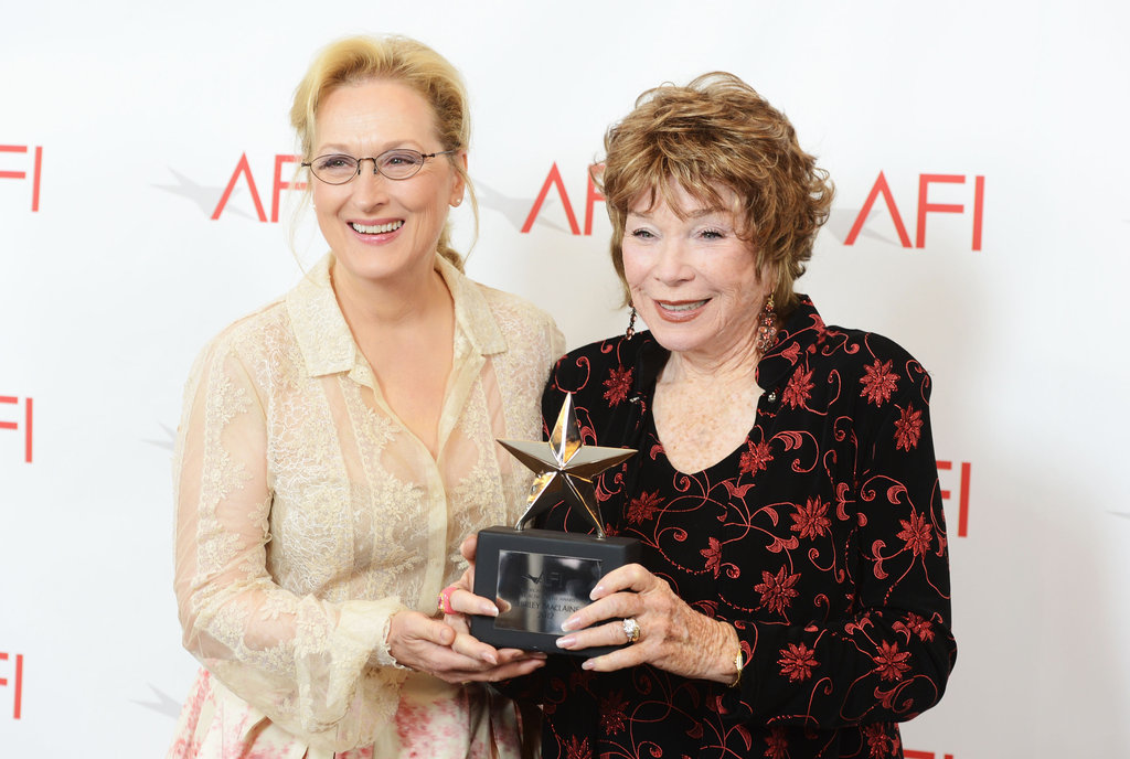 Meryl Streep posed with Shirley MacLaine at the AFI Life Achievement Award dinner in LA.