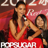 Katie Holmes wore a red dress in Taiwan.