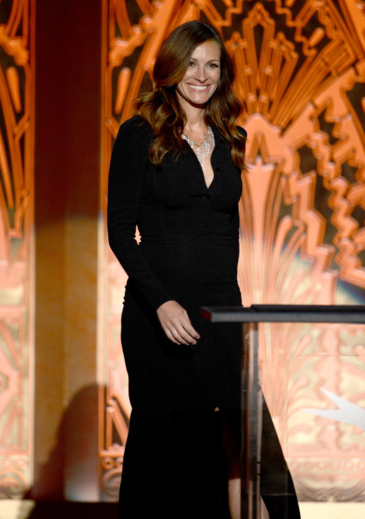 Julia Roberts spoke onstage at the AFI Life Achievement Award dinner honoring Shirley MacLaine in LA.