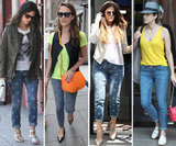 These style-setters show off the latest in the printed-jeans trend. Shop their styles.
