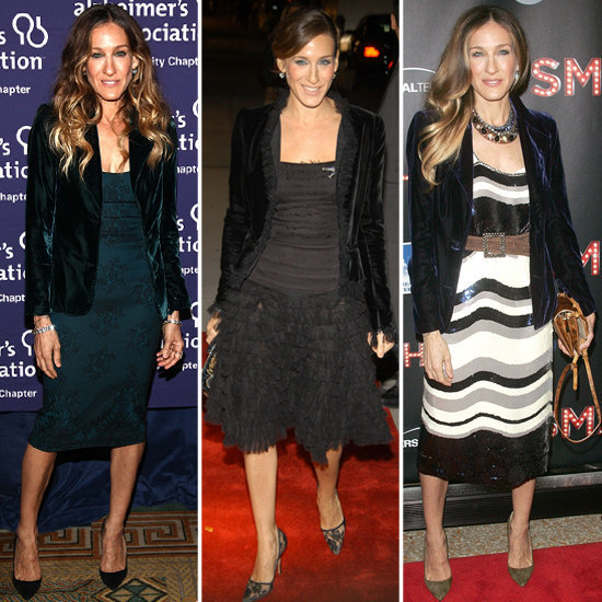 We're on to SJP's flawless evening look: blazers plus party dresses.