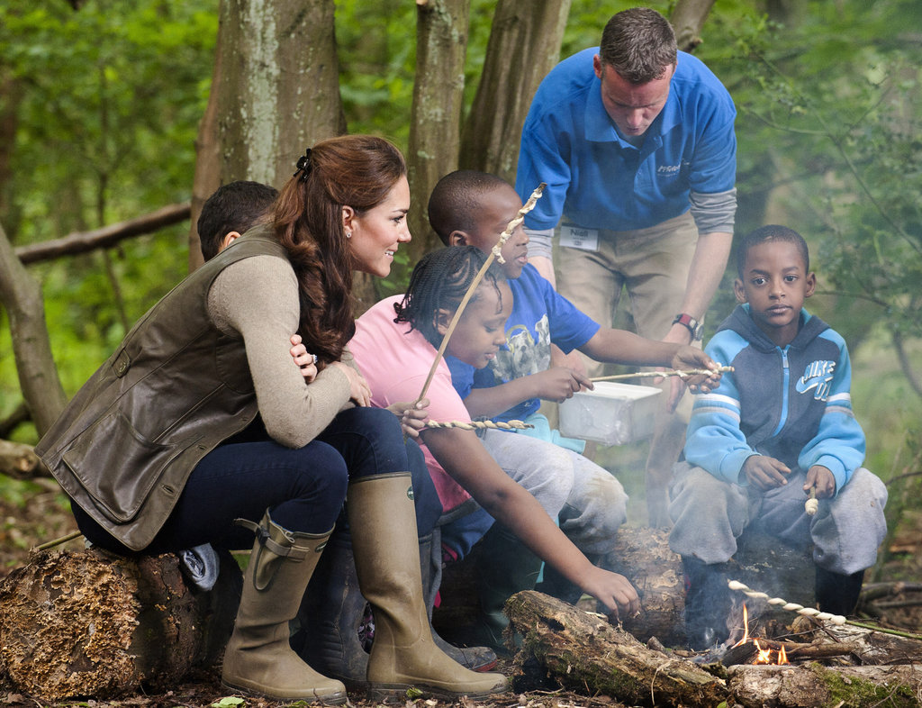 Kate Middleton spent the day with children from Expanding Horizons' primary school outdoor camp.