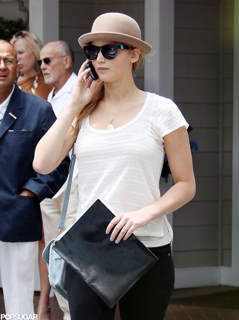 Jennifer Lawrence chatted on her phone.