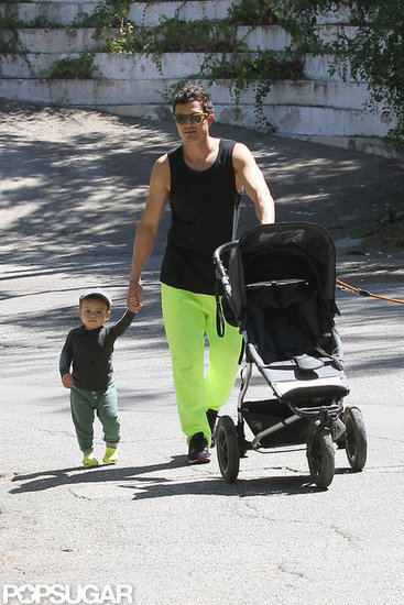 Orlando Bloom Spends a Sunny Father's Day Walking With Flynn