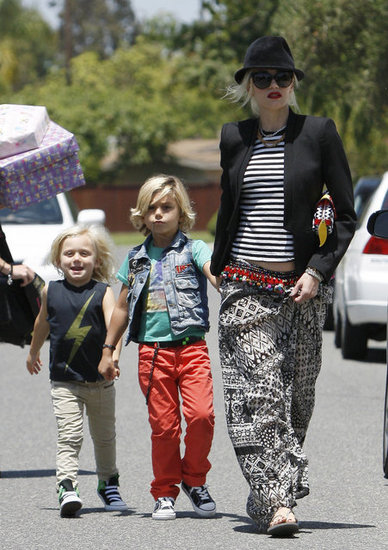 Kingston and Zuma Rossdale showed off their light blond locks in Long Beach.
