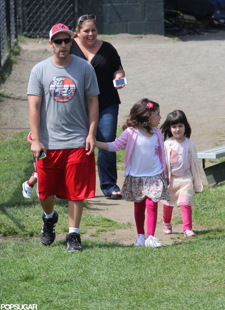 Adam Sandler brought his two girls, Sadie and Sunny, on set with him in Massachusetts in June 2012.